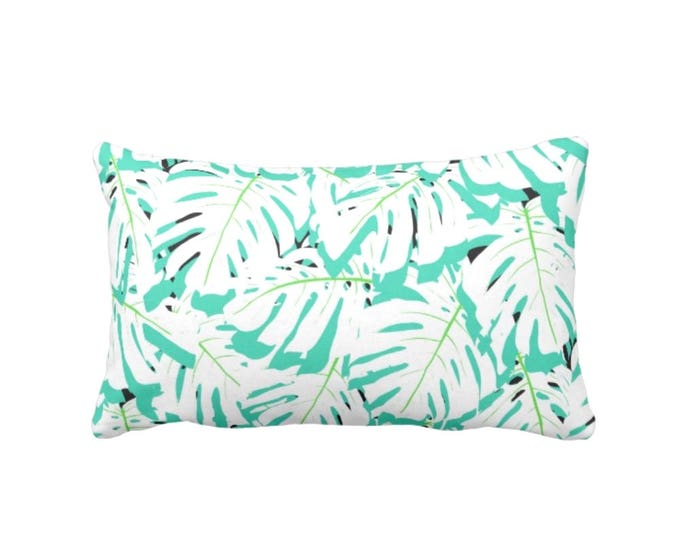 """OUTDOOR Mint Palm Print Throw Pillow or Cover 14 x 20"""" Lumbar Pillows/Covers, Modern/Abstract Monstera Leaves Blue/Green Floral Pattern"""