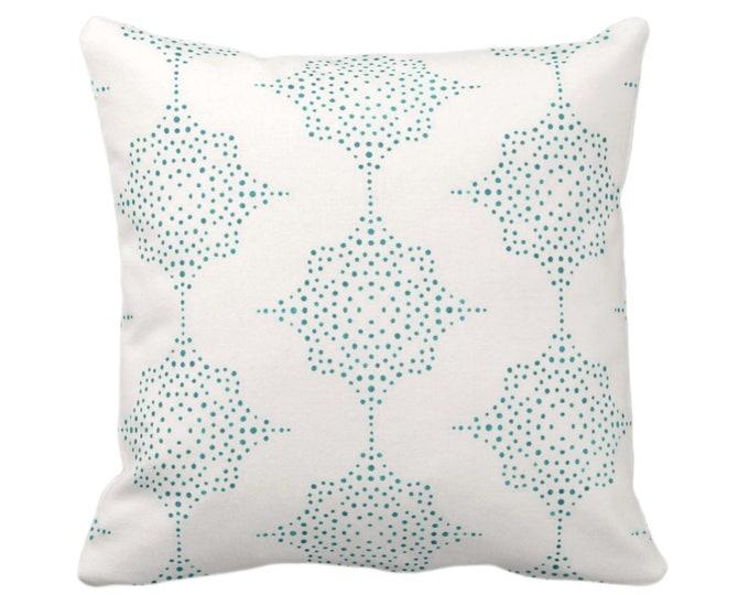 "OUTDOOR Block Print Stars Throw Pillow, Teal & Ivory 16, 18 or 20"" Sq Pillows, Blue/Green Geometric/Blockprint/Star Pattern"