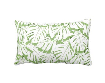 """Palm Print Throw Pillow or Cover, Cactus Green/White 14 x 20"""" Lumbar Pillows or Covers, Olive/Lime Tropical Leaf/Leaves Pattern"""