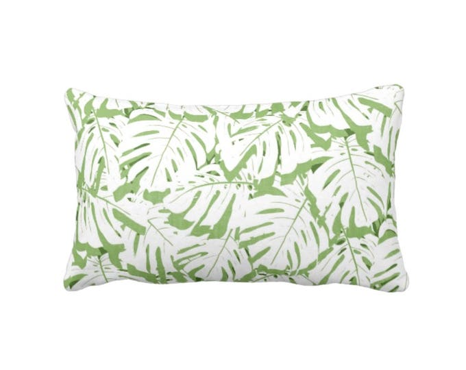 "Palm Print Throw Pillow or Cover, Cactus Green/White 14 x 20"" Lumbar Pillows or Covers, Olive/Lime Tropical Leaf/Leaves Pattern"