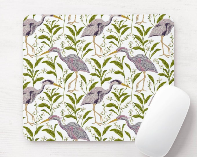 Heron Naturalist Mouse Pad/Mousepad, Nesting Birds/Bird Toile Pattern, Green/Light Purple, Floral/Botanical Illustration/Art Print