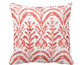 "Watercolor Print Throw Pillow or Cover, Coral/White 16, 18, 20 or 26"" Sq Pillows or Covers, Hand-Dyed Effect, Pink/Orange/Red"