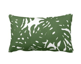 "Palm Silhouette Throw Pillow or Cover Green/White Print 14 x 20"" Lumbar Pillows or Covers, Tropical/Modern/Leaves/Leaf Pattern"