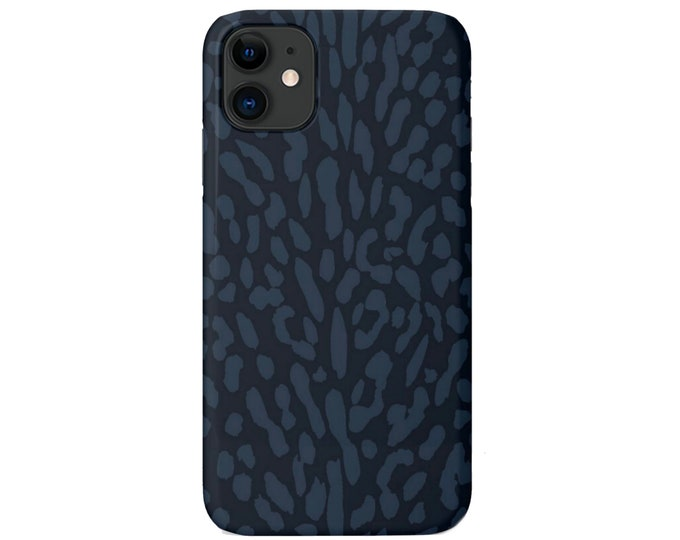 Abstract Animal Print iPhone 11, XS, XR, X, 7/8, 6/6S Pro/Max/Plus/P Snap Case or TOUGH Protective Cover, Navy/Dark Blue Animal Spots Galaxy