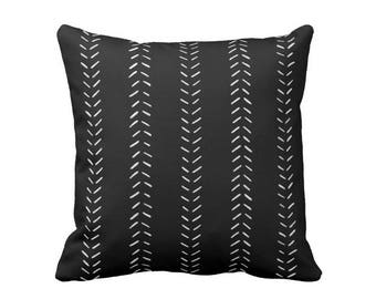 "OUTDOOR Mud Cloth Print Throw Pillow or Cover, Black/Off-White 16, 18 or 20"" Sq Pillows or Covers, Mudcloth/Geometric/Arrows/Tribal"