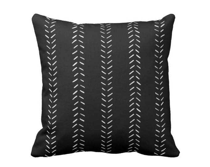 "OUTDOOR - READY 2 SHIP Mud Cloth Print Throw Pillow Cover, Black/Off-White 18"" Sq Pillow Covers, Mudcloth/Geometric/Arrows/Tribal"
