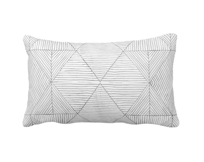"Fine Line Geo Print Throw Pillow or Cover 14 x 20"" Lumbar Pillows or Covers, Charcoal Dark Gray/Grey Tribal Geometric/Abstract/Lines/Diamond"