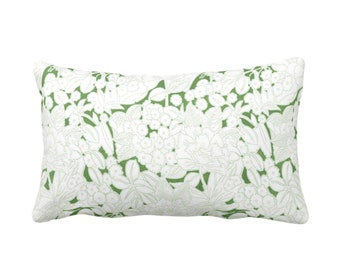 """OUTDOOR Wildflowers Throw Pillow, Moss/White 14 x 20"""" Lumbar Pillows, Olive Green Floral/Abstract/Retro/Modern/Vintage Print/Pattern"""