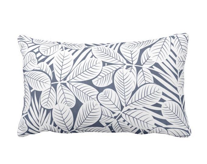 "Modern Leaves Throw Pillow or Cover, Navy & White Print 20 x 14"" Lumbar Pillows or Covers, Dark/Deep Blue Retro Tropical Print/Pattern"