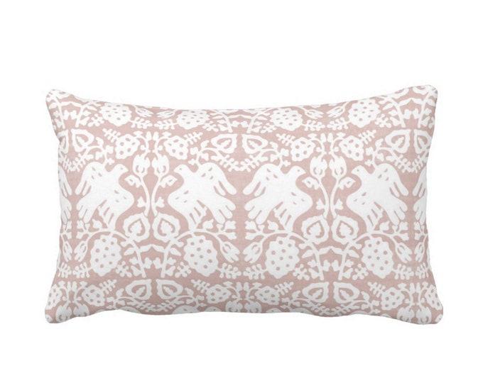 "Block Print Bird Floral Throw Pillow or Cover, Pink Sand 14 x 20"" Lumbar Pillows or Covers Dusty Rose Blockprint/Tribal Print"