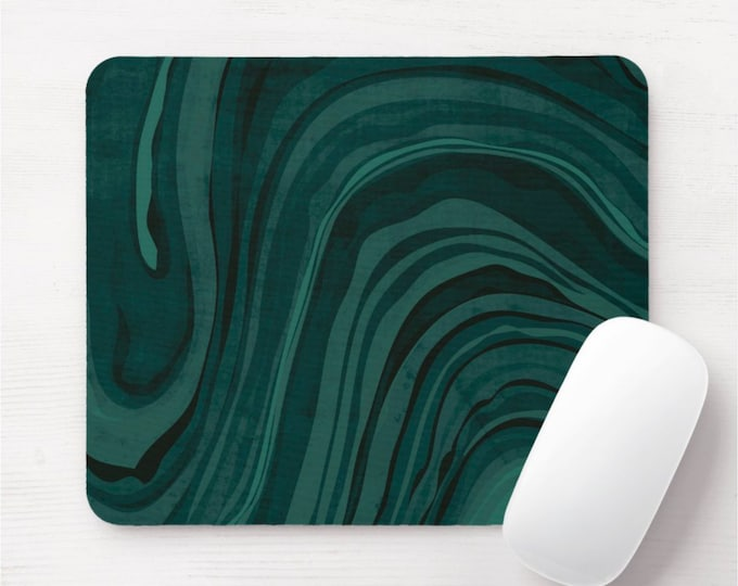 Storm Teal Mouse Pad/Mousepad, Deep/Dark Blue/Green Marble/Marbled/Swirl/Abstract Modern Minimal Print/Pattern