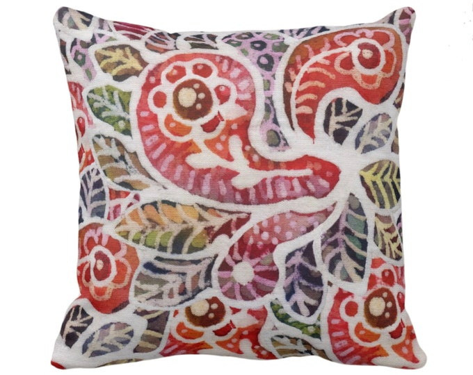 """Colorful Batik Throw Pillow or Cover, 14, 16, 18, 20, 26"""" Sq Pillows/Covers, Rainbow Boho/Jungalo Vintage Thai/Indonesian/Maio Print/Pattern"""