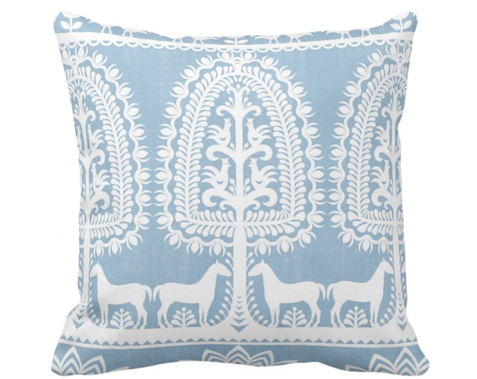 "Folk Print Throw Pillow or Cover, Dusty Blue/White 16, 18, 20 or 26"" Sq Pillows/Covers Animal/Floral/Mexican/Boho/Tribal/Traditional Pattern"