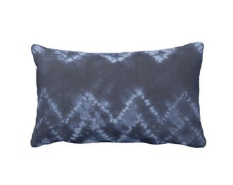 "OUTDOOR Chevron Throw Pillow or Cover, Navy/Indigo Blue 14 x 20"" Lumbar Pillows/Covers, Geo/Geometric/Zig-Zag/Stripes, Print/Pattern"