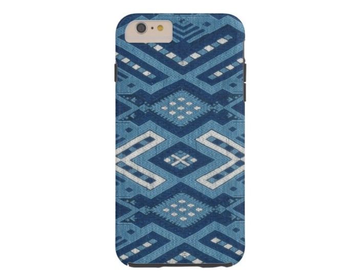 Indigo Geo iPhone 6 Plus Case-Mate Tough Case/Cover, Blue Thai/Boho Diamond Geometric Print/Pattern, Batik Maio Chinese Minority Tribe