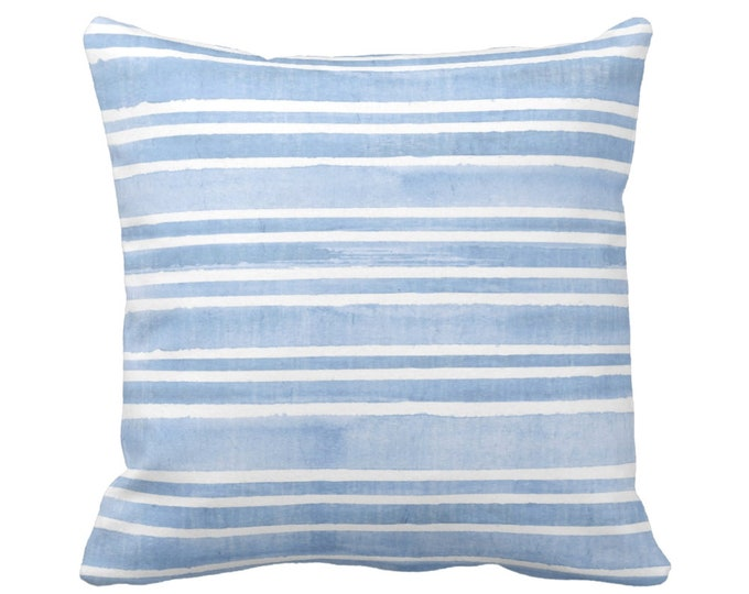 "Watercolor Stripe Throw Pillow or Cover, French Blue/White 16, 18, 20 or 26"" Sq Pillows or Covers Stripes/Lines/Hand Painted Print"
