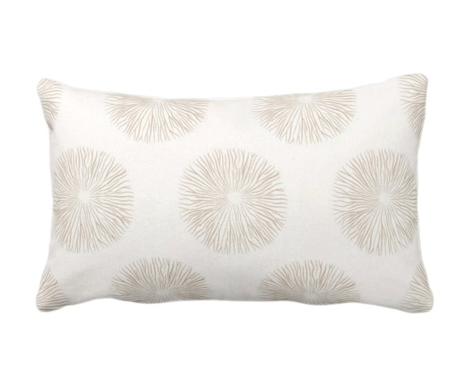 """Sea Urchin Throw Pillow or Cover, Sand/Off-White 14 x 20"""" Lumbar Pillows or Covers, Beige/Tan Abstract Geo/Geometric Print/Pattern"""