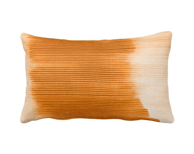 """OUTDOOR Golden Orange Ombre Stripe Throw Pillow/Cover 14 x 20"""" Lumbar Pillows/Covers, Sunset Geometric/Print/Striped/Stripes/Geo/Lines"""