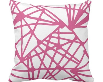 """Webbed Lines Throw Pillow or Cover, Pink Yarrow/White 16, 18, 20 or 26"""" Sq Pillows or Covers Channels/Stripes Abstract Geometric"""