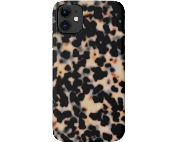 Tortoise Shell iPhone Case 12, 11, XS, XR, X, 7/8, 6/6S P/Pro/Plus/Max, Snap or Tough Protective Cover Beige/Black Printed Tortoiseshell
