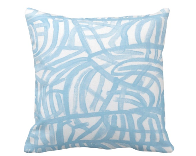 "Avant Throw Pillow or Cover, White/Sky Blue 16, 18, 20, 26"" Sq Pillows Covers, Light Painted Abstract Modern/Geometric/Geo/Lines/Paint Print"