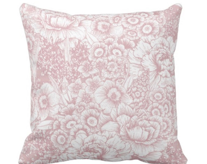 """Retro Floral Throw Pillow or Cover, Pink & White 14, 16, 18, 20 or 26"""" Square Pillows or Covers, Dusty Rose/Blush/Millenial"""