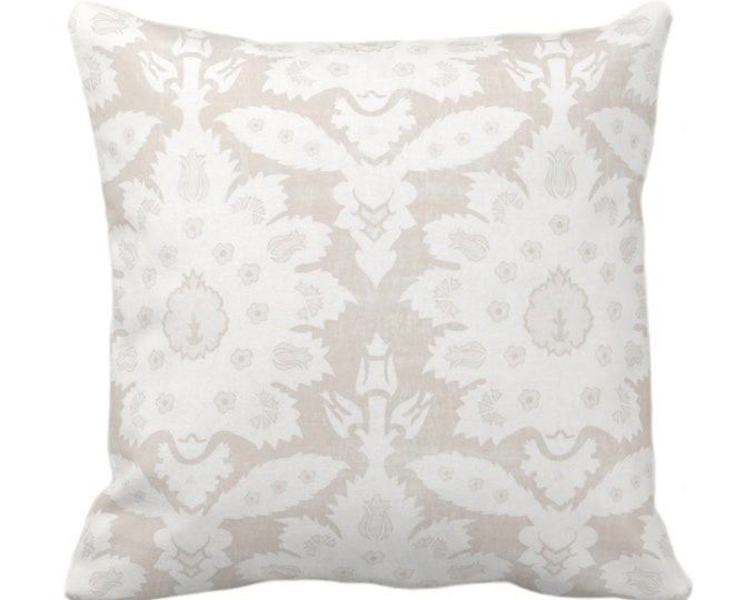 """Sofia Damask Print Throw Pillow or Cover, Beige/Off-White 14, 16, 18, 20, 26"""" Sq Pillows/Covers, Floral/Ikat/Boho/Tribal/Farmhouse Pattern"""
