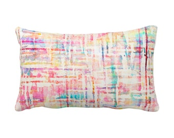 "OUTDOOR Watercolor Tweed Throw Pillow or Cover, Multi-Colored Geometric Print 14 x 20"" Lumbar Pillows/Covers, Abstract/Lines/Stripes Pattern"