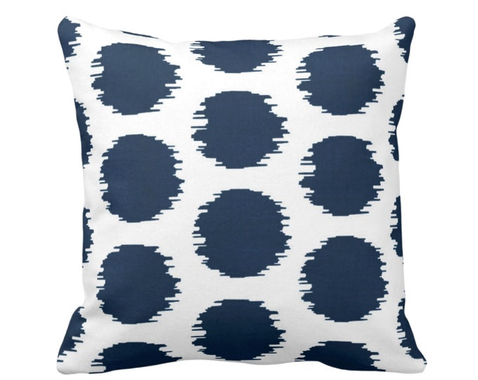 """OUTDOOR Ikat Dot Throw Pillow or Cover, Navy/White 16, 18 or 20"""" Sq Pillows or Covers, Blue Scribble/Dots/Spots/Circles/Polka Print/Pattern"""