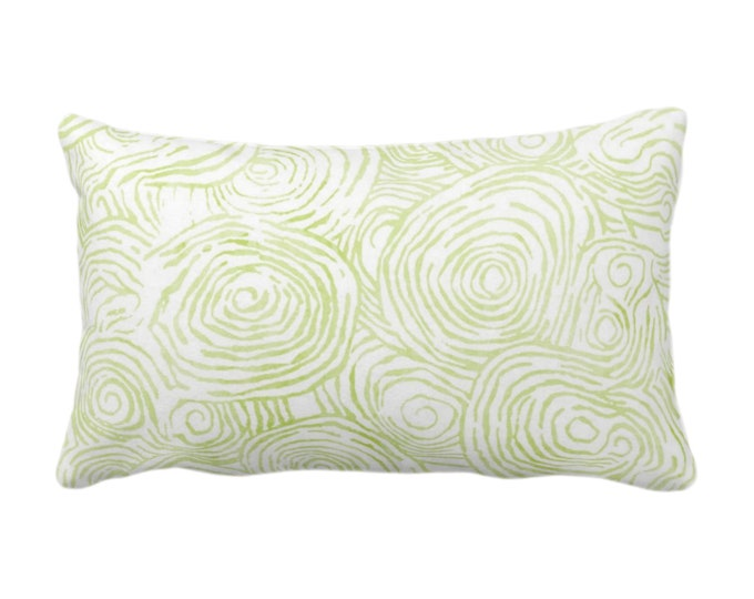 """OUTDOOR -READY 2 SHIP Watercolor Faux Bois Throw Pillow Cover, Wasabi 14 x 20"""" Lumbar Pillows/Covers, Light Green Painted Modern/Geo Print"""