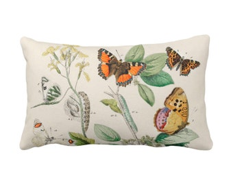 """OUTDOOR Vintage Butterflies Throw Pillow or Cover 14 x 20"""" Sq Pillows/Covers, Colorful Yellow/Orange/Green Butterfly Floral Print/Pattern"""