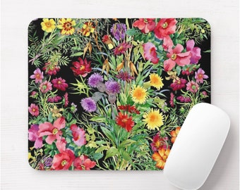 Watercolor Wildflowers Print Mouse Pad, Colorful Vintage Floral/Flowers Mousepad