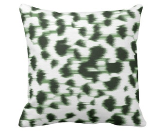 "OUTDOOR Ikat Abstract Animal Print Throw Pillow or Cover 14, 16, 18, 20, 26"" Sq Pillows/Covers, Kale Green/White Spotted/Dots/Spots/Geo/Dot"