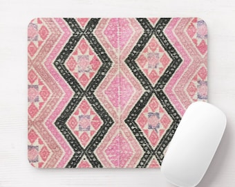 Chinese Wedding Blanket Print Mouse Pad/Mousepad, Black & Pink Thai Chinese Maio Minority Hill Tribe Vintage Fabric, Geometric/Diamond/Star
