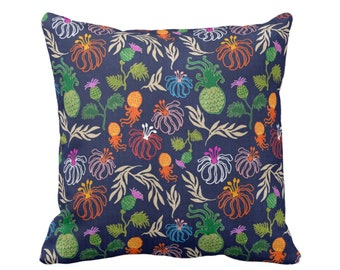 "OUTDOOR Colorful Japanese Floral Throw Pillow/Cover, 14, 16, 18, 20 or 26"" Sq Pillows/Covers, Navy Blue Flowers/Jungalo/Boho/Tropical Print"