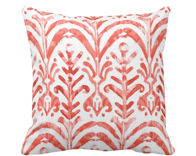 "OUTDOOR Watercolor Print Throw Pillow or Cover, Coral/White 16, 18 or 20"" Sq Pillows or Covers, Hand-Dyed Effect, Pink/Orange/Red"