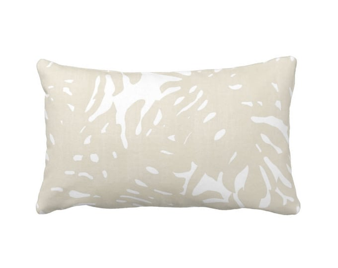 "Palm Silhouette Throw Pillow or Cover Sand/White Print 14 x 20"" Lumbar Pillows or Covers, Beige Tropical/Modern/Leaves Pattern"