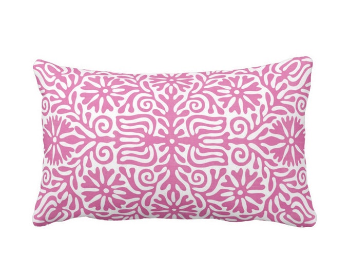 "Folk Floral Throw Pillow or Cover, Pink 14 x 20"" Lumbar Pillows or Covers, Bright/Purple/White, Flowers/Boho/Bohemian/Tribal/Geo"
