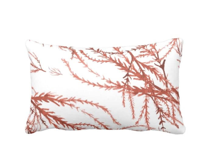 "Watercolor Branches Throw Pillow or Cover, Burnt Orange & White Print 13 x 21"" Lumbar Pillows/Covers, Coral, Nature/Botanical Pattern"