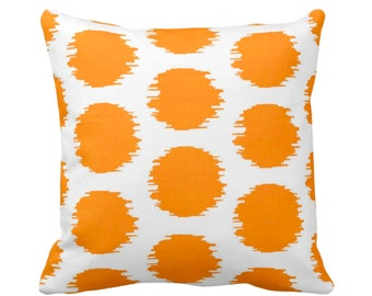 "Ikat Dot Throw Pillow or Cover, Orange/White 14, 16, 18, 20 or 26"" Sq Pillows or Covers, Mellon Scribble/Dots/Spots/Circles Print/Pattern"