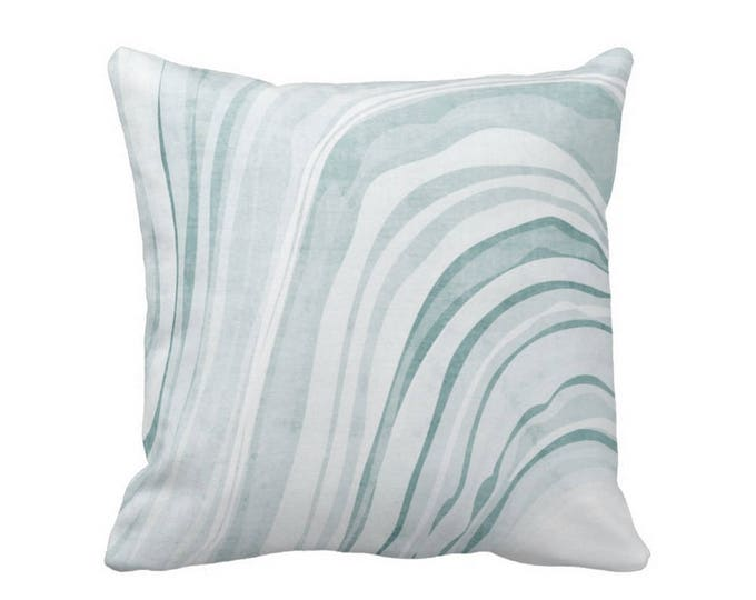 "Marble Print Throw Pillow or Cover, Lagoon/White 16, 18, 20 or 26"" Sq Pillows or Covers, Teal/Blue/Green Marbled/Waves Pattern"