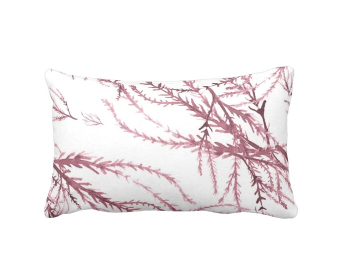 """Watercolor Branches Throw Pillow or Cover, Plum/White Print 14 x 20"""" Lumbar Pillows or Covers, Wine/Burgundy, Nature Pattern"""