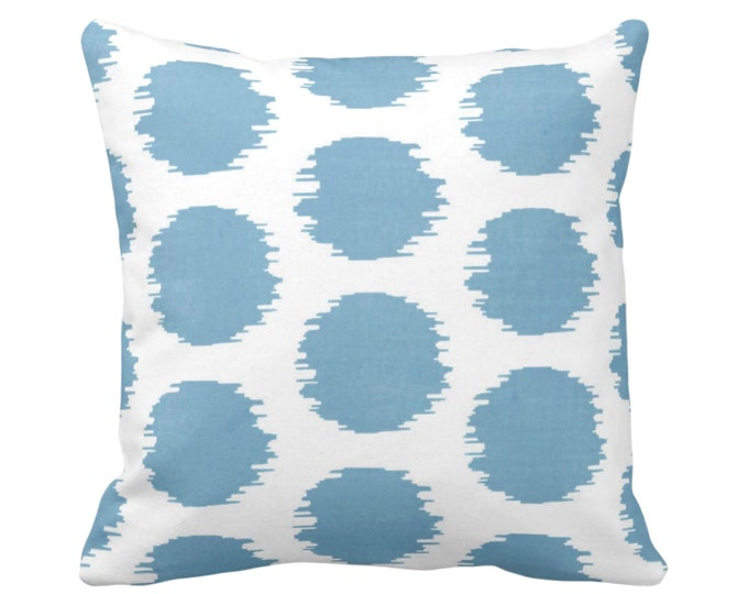 "OUTDOOR Ikat Dot Throw Pillow or Cover, Dusty Blue/White 14, 16, 18, 20 or 26"" Sq Pillows or Covers, Dots/Spots/Spot/Dotted Print/Pattern"