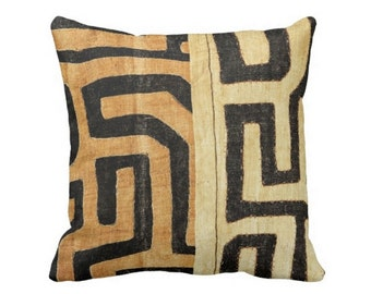 "PRINTED Kuba Cloth Throw Pillow or Cover, Tan/Black 16, 18, 20 or 26"" Sq Pillows or Covers, Geometric/African/Tribal/Boho/Design"