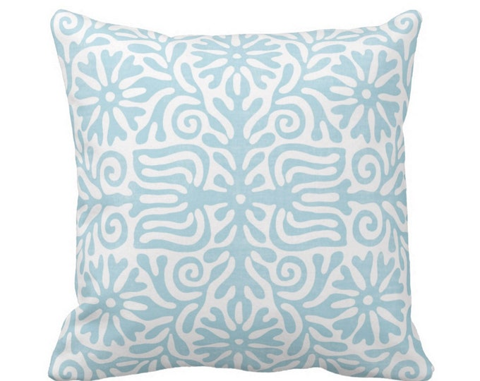 "OUTDOOR Folk Floral Throw Pillow or Cover, Sky Blue 16, 18 or 20"" Sq Pillows or Covers, Aqua Flowers/Tribal/Batik/Geo/Boho Print"