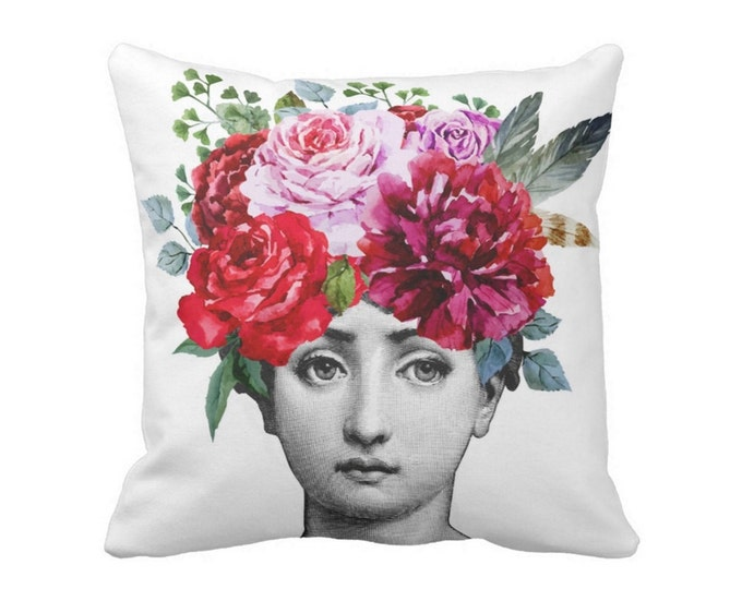 "OUTDOOR Fornasetti Face & Flowers Throw Pillow or Cover, 16, 18 or 20"" Sq Pillows or Covers, Colorful/Floral/Watercolor/Art/Modern"