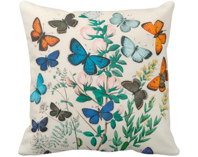 """OUTDOOR Vintage Butterflies Throw Pillow/Cover, 14, 16, 18, 20, 26"""" Sq Pillows/Covers, Colorful Turquoise Butterfly/Botanical/Floral Print"""