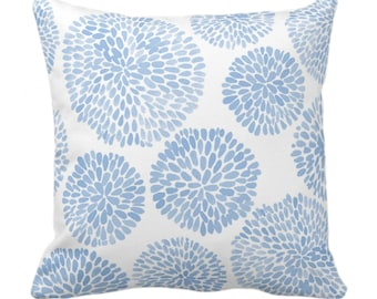 """OUTDOOR Watercolor Chrysanthemum Throw Pillow/Cover, Cornflower/White 14, 16, 18, 20, 26"""" Sq Pillows/Covers, Blue Modern/Floral/Flower Print"""