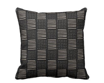 "Mud Cloth Print Throw Pillow or Cover, Lines/Dots Black/Off-White 16, 18, 20, 26"" Sq Pillows or Covers, Mudcloth/Geo/Boho/Tribal"