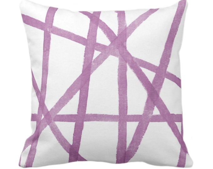 "Hand-Painted Lines Throw Pillow or Cover, White & Lavender 14, 16, 18, 20, 26"" Sq Pillows/Covers Purple Modern/Geometric/Geo/Abstract Print"